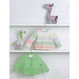 JB504 Baby's Sweater & Cardigan in James C Brett Baby Marble DK