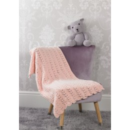 JB526 Teddy Bear & Lace Blanket in James C Brett Flutterby Chunky