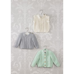 JB527 Baby's Cardigan, Sweater & Slipover in James C Brett Flutterby Chunky