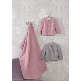 JB528 Blanket & Cardigans for Babies in James C Brett Flutterby Chunky
