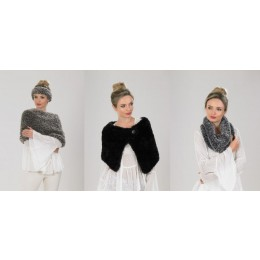 JB542 Headband, Cowl, Shoulder Cover & Cape in James C Brett Chinchilla