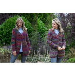JB547 Woman's Jacket in James C Brett Mega Multi Chunky