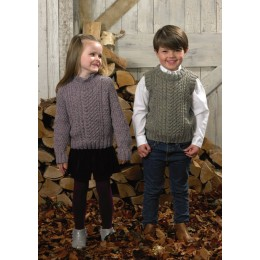 JB577 Sweater & Slipover for Boys & Girls in James C Brett Rustic Aran