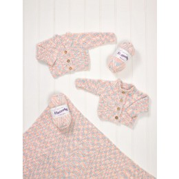 JB581 Cardigans & Blanket for Baby in James C Brett Flutterby
