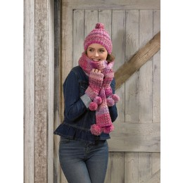 JB586 Woman's Scarf, Hat & Wrist Warmers in James C Brett Marble Chunky