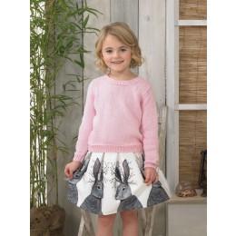 JB599 Girl's Long & Short Sleeve Sweater in James C Brett It's Pure Cotton DK