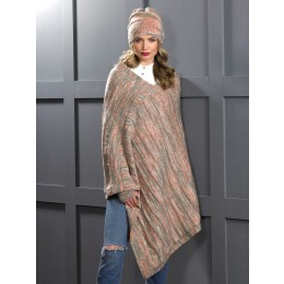 JB607 Ladies Poncho, Hat & Wrist Warmers in James C Brett Stonewash DK