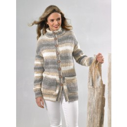 JB615 Woman's Long-Line Jackets in James C Brett Driftwood DK