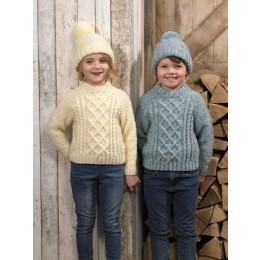 JB626 Boy's & Girl's Sweater & Hat in James C Brett Rustic & Aztec Aran