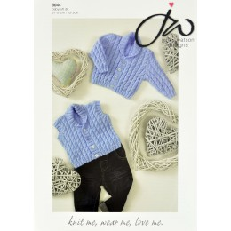 JW5044 Baby Cable Cardigan and Waistcoat Babysoft DK