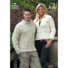 KC2874 Men and Women Jumper and Cardigan in Aran