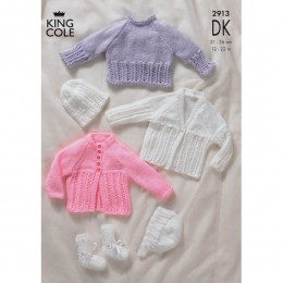 KC2913 Babies Cardigan, Jumper, Booties and Hat in DK
