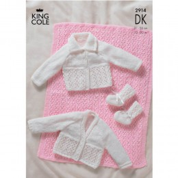 KC2914 Babies Cardigan, Booties and Blanket in DK