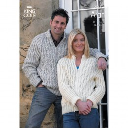 KC2943 Women and Men Jacket and Jumper in Aran