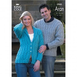 KC2945 Women and Men Jacket and Jumper in Aran