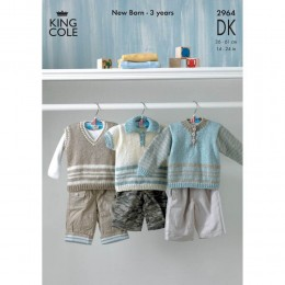 KC2964 Babies Top, Jumper and Waistcoat in DK