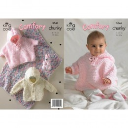 KC3046 Babies Blanket, Jacket and Toy Rabbit in Chunky
