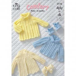 KC3116 Babies Jumper, Dress and Booties in 4ply or DK