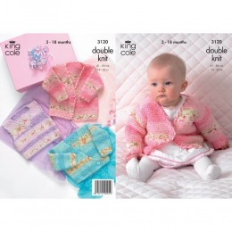 KC3120 Babies Cardigan and Waistcoat in Splash DK