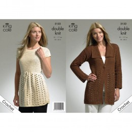 KC3132 Women's Crochet Jacket and Tunic in DK