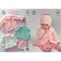 KC3136 Babies Cardigan, Dress, Jumper and Hat in Aran