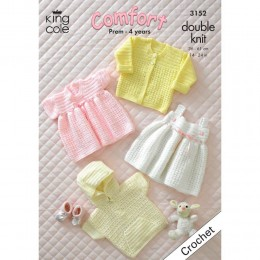 KC3152 Babies Crochet Cardigan, Jumper and Dresses in DK