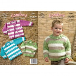 KC3182 Babies and Children's Jumper and Cardigan in Chunky