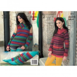 KC3216 Women's Jumper with optional cowl collar, sleeveless Top, Arm or Legwarmers and Snood in Riot DK