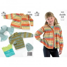 KC3245 Children's Cardigan, Jumper, Hat and Scarf in Splash DK