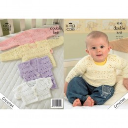 KC3250 Babies Crochet Cardigan, Bolero, Waistcoat and Jumper in DK