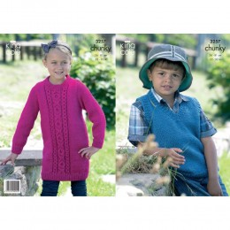 KC3257 Children's Waistcoat and Dress in Chunky