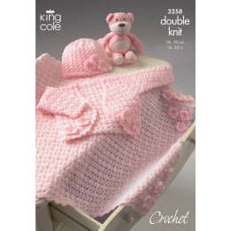 KC3258 Babies Bolero, Hat and Pram Blanket in DK