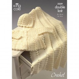 KC3259 Babies Crochet Cardigan, Hat and Shawl in DK