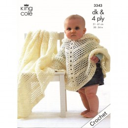 KC3343 Babies Crochet Poncho and Shawl in DK and 4ply