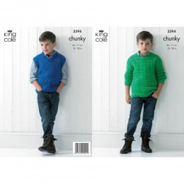 KC3394 Children's Jumper and Vest in Chunky