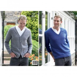 KC3420 Men's Jumper and Cardigan in 4ply