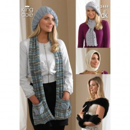 KC3444 Scarf, Hat and Gloves for Women in King Cole DK