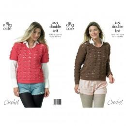 KC3472 Crocheted Sweaters for Women in King Cole Merino Blend DK