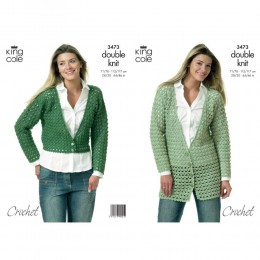 KC3473 Crocheted Jackets for Women in King Cole Merino Blend DK
