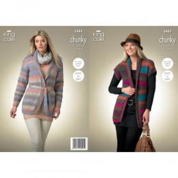 KC3483 Ladies' Cardigan and Waistcoat in King Cole Riot Chunky