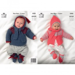 KC3505 Cardigan, Jumper and Accessories for Babies from King Cole