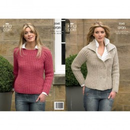 KC3545 Jacket and Jumper for Women in King Cole Fashion Aran