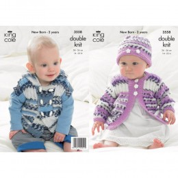 KC3558 Jacket and Hat for Babies in King Cole Comfort Prints DK