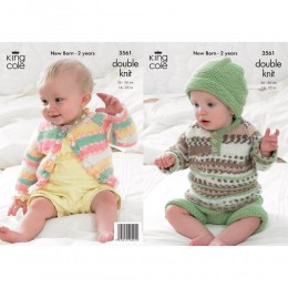 KC3561 Sweater, Cardigan, Shorts and Hat for Babies in King Cole Comfort Prints DK
