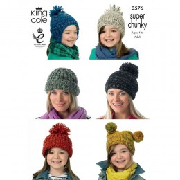 KC3576 Hats for Children and Adults in King Cole Gypsy Super Chunky