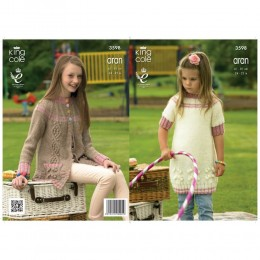 KC3598 Dress and Cardigan for Girls in King Cole Big Value Aran