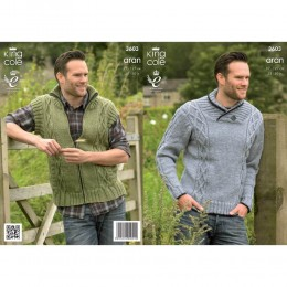 KC3603 Sweater and Gilet for Men in King Cole Big Value Aran