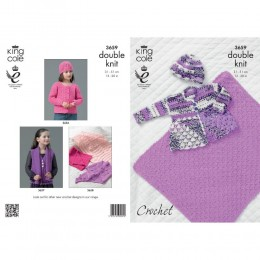 KC3659 Crocheted Blanket, Cardigan and Hat for Babies in King Cole Comfort Prints DK