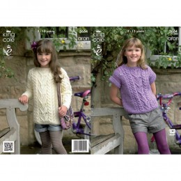 KC3664 Tunic and Top for Children in King Cole Fashion Aran