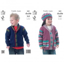 KC3681 Jackets and Beret for Children in King Cole Big Value DK